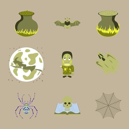living skull: assembly of flat illustration halloween cauldron bat Full Moon witch zombie men