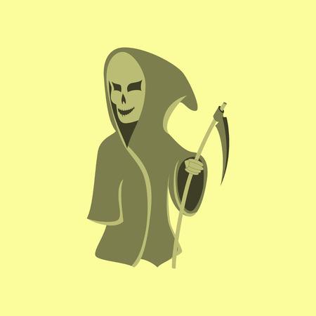 guadaña: flat illustration on stylish background of halloween death scythe