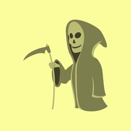 guadaña: ilustración plana en el fondo elegante de Halloween guadaña de la muerte