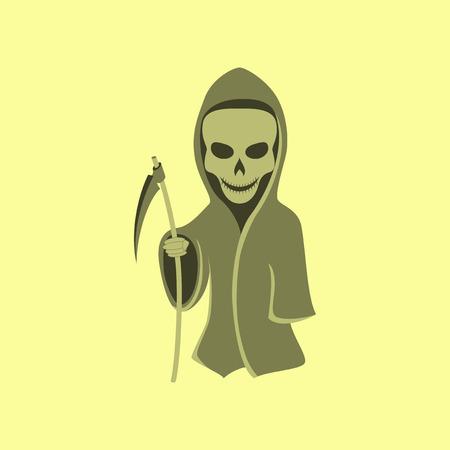 doom: flat illustration on stylish background of halloween death scythe