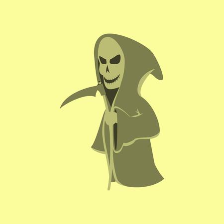 danger to life: flat illustration on stylish background of halloween death scythe