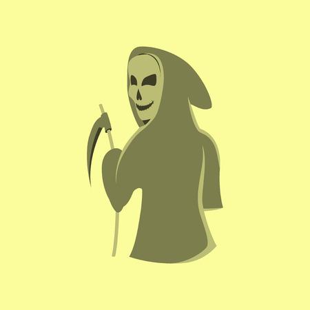 scythe: ilustración plana en el fondo elegante de Halloween guadaña de la muerte