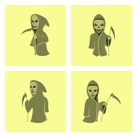 guada�a: assembly of flat illustration halloween death scythe