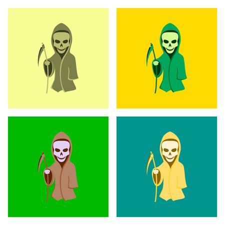 doom: assembly of flat illustration halloween death scythe