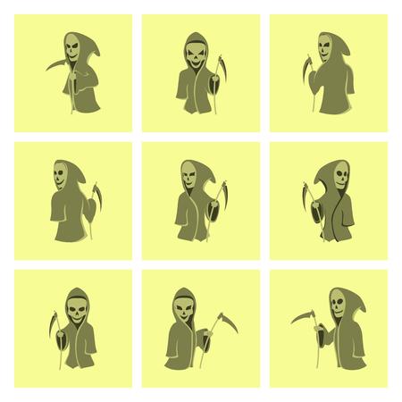 scythe: el montaje de piso ilustración guadaña de la muerte de Halloween