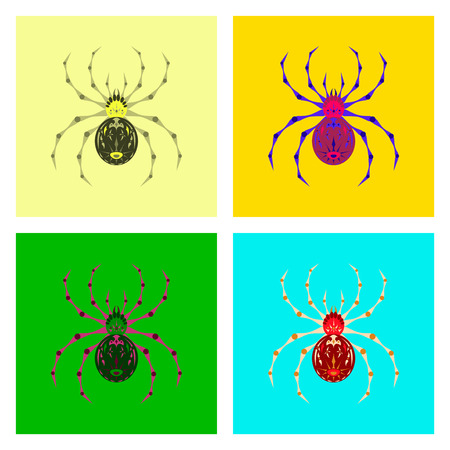 halloween spider: assembly of flat illustration halloween scary spider