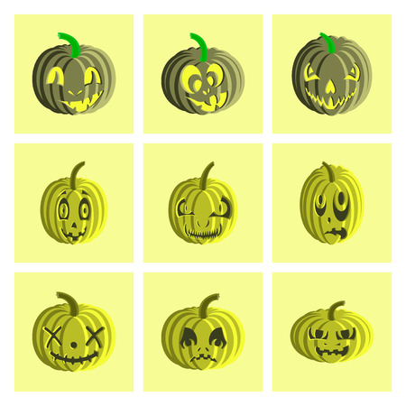 helloween: assembly of flat illustration Halloween pumpkin emotions
