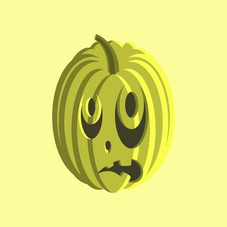 of helloween: flat illustration on stylish background of Halloween pumpkin emotions