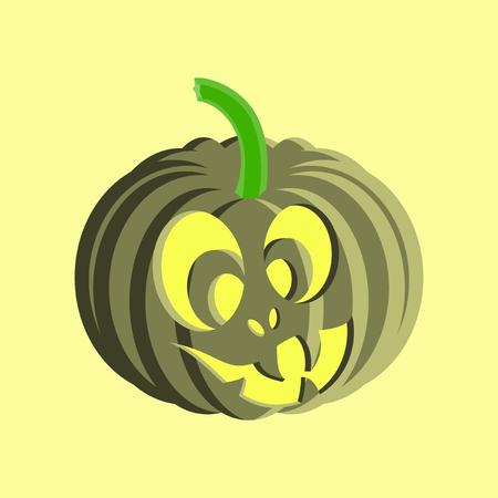 flat illustration on stylish background of Halloween pumpkin emotions