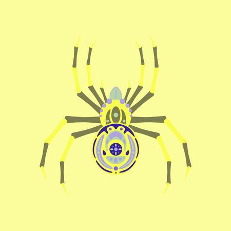 arachnid: flat illustration on stylish background of halloween spider