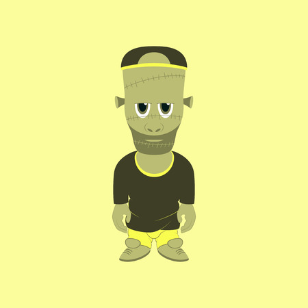 living skull: flat illustration on stylish background of zombie men Illustration