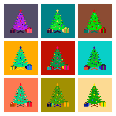 christmas gifts: assembly of flat illustration Christmas Tree gifts