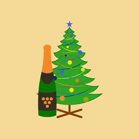 fur trees: flat illustration on stylish background of Christmas tree champagne Illustration