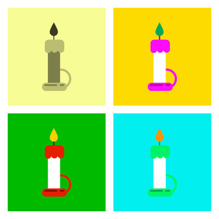 candelabrum: assembly of flat icons halloween wax candle