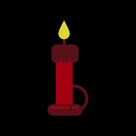 candelabrum: flat icon on stylish background of wax candle