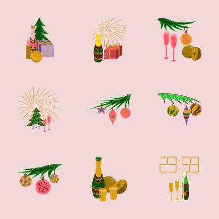 champagne orange: assembly of flat shading style illustration Christmas tree champagne