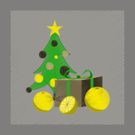 champagne orange: flat shading style icon of Christmas tree orange gift Illustration