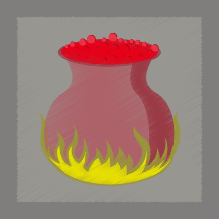pocima: plana icono de estilo de sombreado de caldero poción Vectores