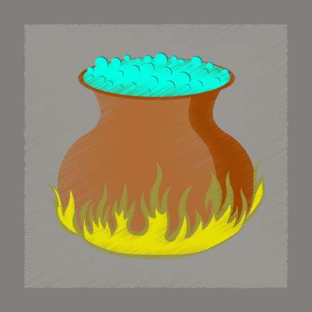 potion: flat shading style icon of potion cauldron Illustration
