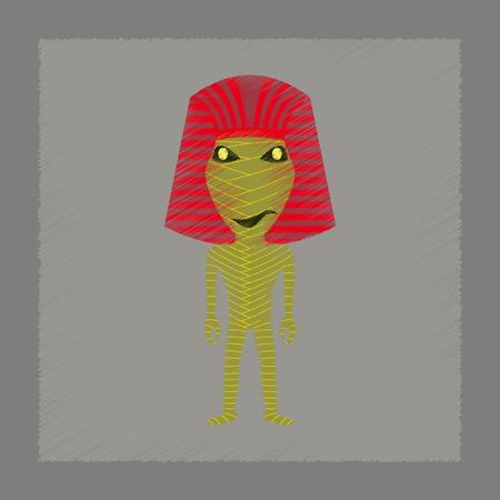 mummified: flat shading style icon of mummy halloween monster Illustration