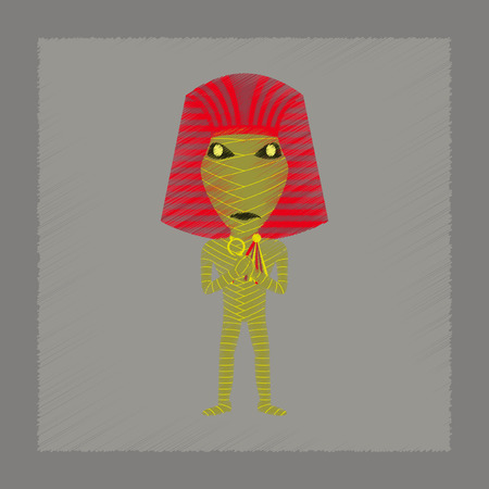 mummified: flat shading style icon of mummy halloween monster Illustration