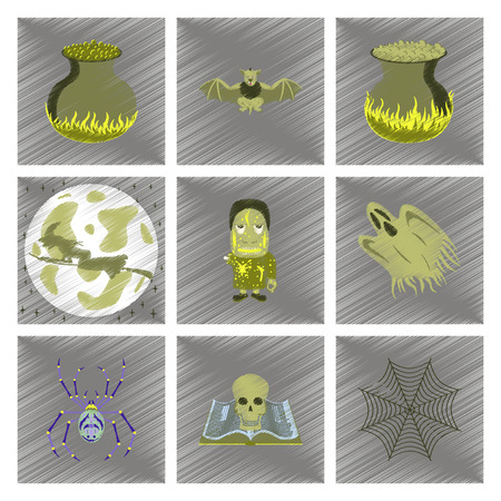living skull: assembly flat shading style icon of halloween cute bat spider book skull ghost cauldron zombie men
