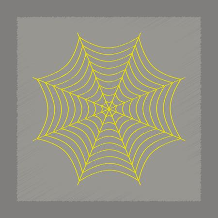 spider web: flat shading style icon of spider web Illustration