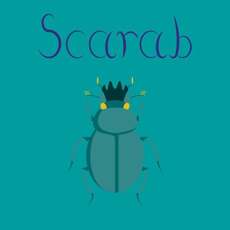 scarab: flat illustration on stylish background bug scarab