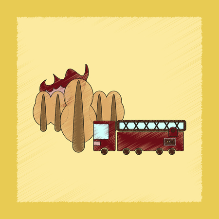 forest fire: flat shading style icon of Forest fire truck