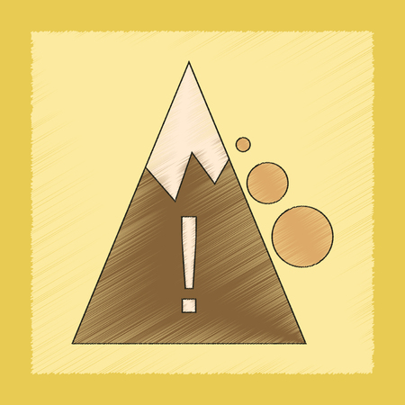rockfall: flat shading style icon of Mountain stones fall Illustration