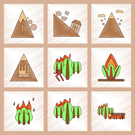 disasters: assembly flat shading style icon of danger natural disasters