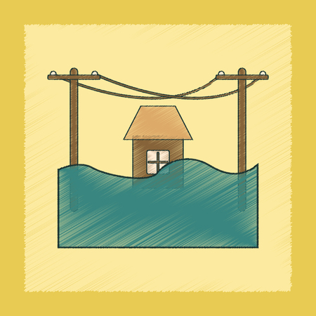 house flood: flat shading style icon of flood house