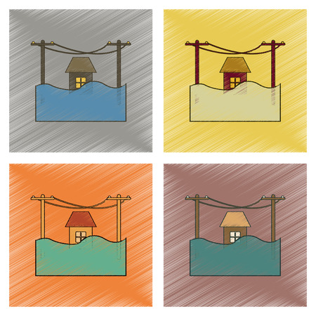 house flood: assembly flat shading style icon of flood house Illustration