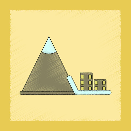 down town: flat shading style icon of Mountain avalanche house Illustration