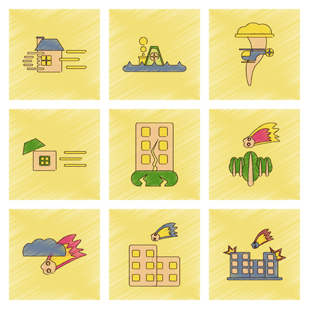disasters: assembly flat shading style icon of natural disasters