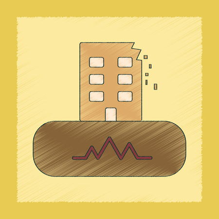 earthquake crack: flat shading style icon of natural disaster earthquake