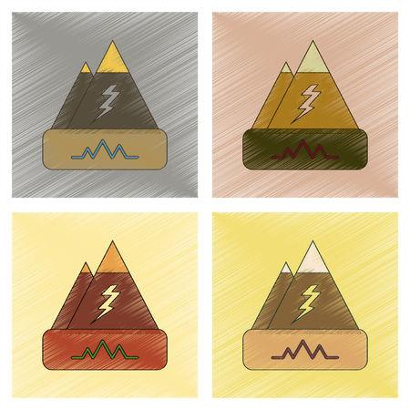earthquake crack: assembly flat shading style icon of natural disaster earthquake Illustration