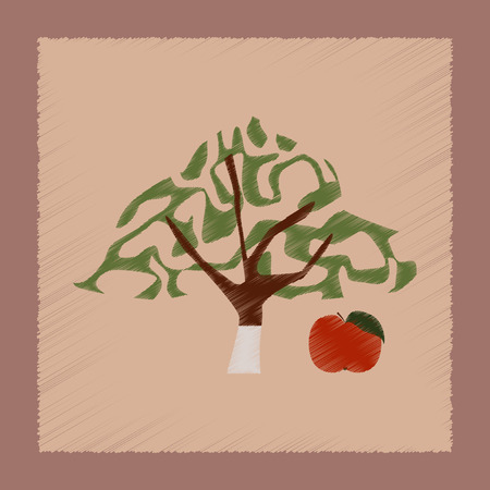 tannins: flat shading style Illustrations of plant Malus Illustration