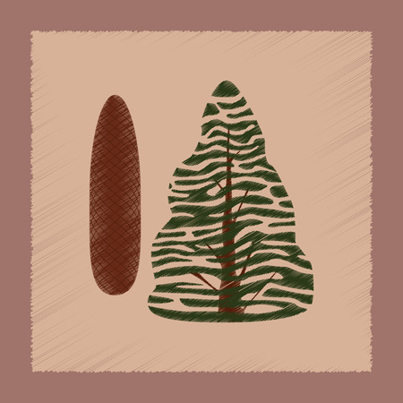 picea: flat shading style Illustrations of plant Picea