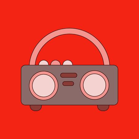 grabadora: icono de plano sobre fondo con estilo grabadora Vectores