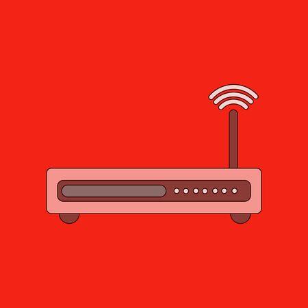 wap: flat icon on stylish background Wi fi modem