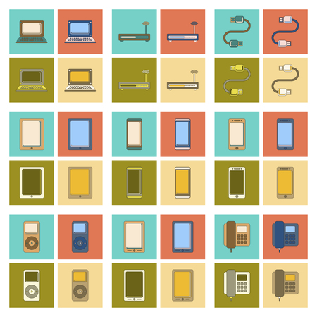 gadget: assembly of flat icon modem mobile phone gadget usb cable music player laptop Illustration