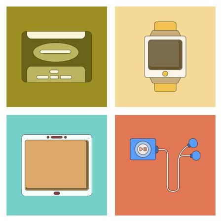 megabytes: assembly of flat icon business tablet gadget Digital Watch hard drive player headphones Illustration
