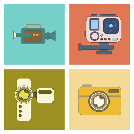 camcorder: assembly of flat icon multimedia technology camcorder photo camera Illustration