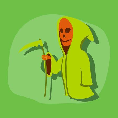 guadaña: etiqueta de papel en el fondo de Halloween con estilo guadaña de la muerte