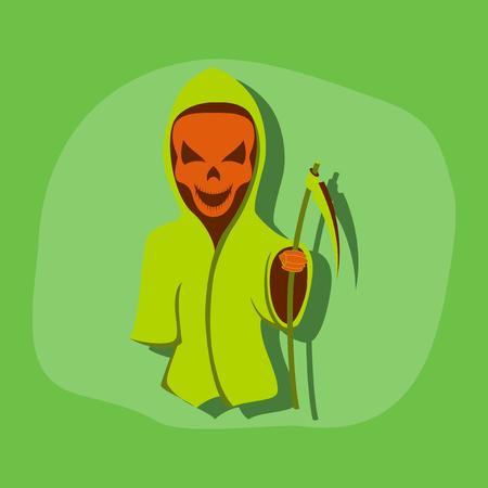 scythe: etiqueta de papel en el fondo de Halloween con estilo guadaña de la muerte