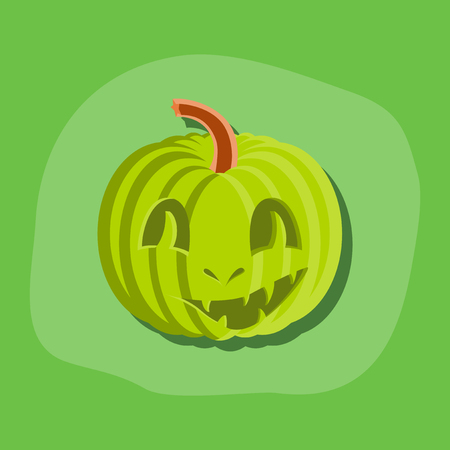 of helloween: paper sticker on stylish background of Halloween pumpkin emotions