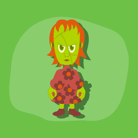 agressive: paper sticker on stylish background of zombie woman