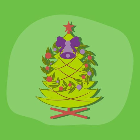paper sticker on stylish background of Christmas fir wreath