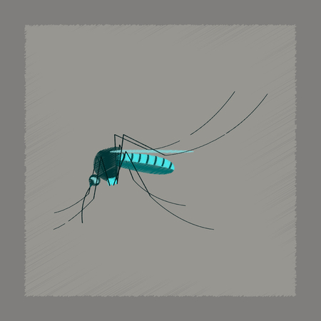 insect mosquito: flat shading style illustration of insect mosquito Illustration